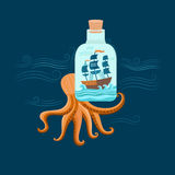 Octopus and ship Royalty Free Stock Photography