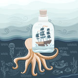Octopus and ship Royalty Free Stock Photos