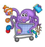 Octopus and shopping cart. Color illustration Royalty Free Stock Photos