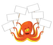 Octopus with a sign. Illustration of a octopus with a sign Stock Photo