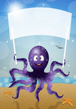 Octopus with sign Royalty Free Stock Image
