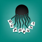 Octopus silhouette with letters Royalty Free Stock Image
