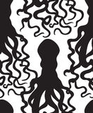 Octopus silhouette seamless pattern. Ghost halloween ornament. M Royalty Free Stock Photography