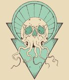 Octopus skull with triangle. On yellow background Royalty Free Stock Images
