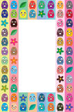 Octopus small colorful frame. This illustration is abstract eat bean game design short octopus with flower and leaf in stripe and frame template Stock Photography