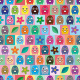 Octopus small colorful symmetry seamless pattern. This illustration abstract eat bean game with design short octopus with flower and leaf symmetry sit at pastel Royalty Free Stock Image