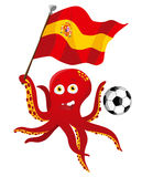 Octopus Soccer Player. Holding Spain Flag Royalty Free Stock Photos