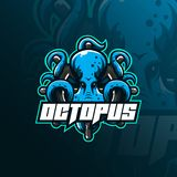 Octopus Sport Mascot Logo Design Illustration, Tshirt And Emblem. Angry Octopus Illustration With The Steering Circle. Royalty Free Stock Image