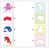 Octopus, starfish, whale and sea horse. Educational game for kids Royalty Free Stock Image