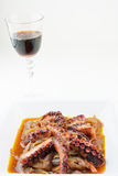 Octopus stew and red wine Stock Photos