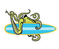 Octopus with surfboard illustration Royalty Free Stock Photos