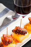 Octopus tapa with wine Royalty Free Stock Photos