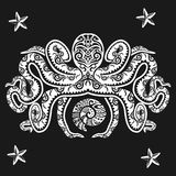Octopus tattoo in Maori style on a black background. Vector illustration EPS10 vector illustration