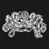 Octopus tattoo in Maori style on a black background. Vector illustration EPS10 Stock Photography