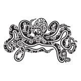 Octopus tattoo in Maori style. Vector illustration EPS10 Stock Images