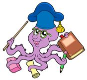 Octopus teacher. On white bakground - vector illustration Royalty Free Stock Images
