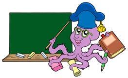 Octopus teacher with blackboard. Vector illustration Stock Photo