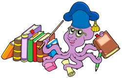 Octopus teacher with books Royalty Free Stock Photography