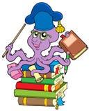 Octopus teacher on pile of books. Vector illustration Stock Photos