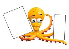 Octopus with template - space for your text Royalty Free Stock Images