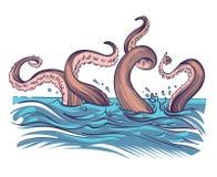 Octopus tentacle in sea. Underwater ocean invertebrate monster. Cartoon japanese squid cuttlefish vector illustration
