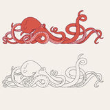 Octopus tentacles. Illustration of an octopus with tentacles Stock Photography