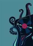 Octopus tentacles with vinyl record turntable. Party poster template. Party poster template with mixing deck. Octopus tentacles with vinyl record turntable Stock Images