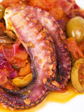 Octopus with tomato sauce and olives Stock Images