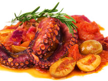 Octopus with tomato sauce and olives Royalty Free Stock Photo