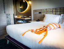 An octopus toy in the bedroom Royalty Free Stock Photo