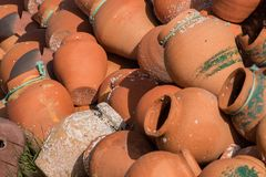 Octopus traps. View of a pile of ceramic octopus traps Stock Images