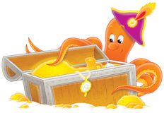 Octopus and treasure stock illustration