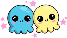 Octopus. Two cute lovely octopus Stock Image
