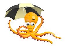 Octopus with umbrella Royalty Free Stock Photos