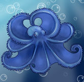 Octopus underwater with bubbles Royalty Free Stock Photography