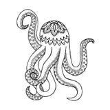 Octopus vector, octopus zen tangle, zen doodle. octopus coloring. octopus tattoo. Black and white Royalty Free Stock Photos