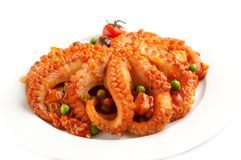 Octopus in vegetable dressing royalty free stock images