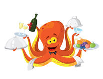 Octopus waiter. Illustration of a octopus waiter Royalty Free Stock Image
