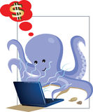 Octopus working  on laptop. And dreaming of dollar Stock Photo