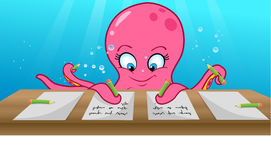 Octopus writing Royalty Free Stock Photo