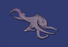 Octopusembleem op een blauwe achtergrond Stock Fotografie