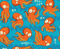 Octopuses in cartoon seamless pattern Royalty Free Stock Image