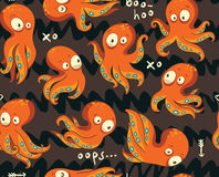 Octopuses in cartoon seamless pattern Stock Images
