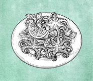 Octopuses on plate. Octopuses with lemon on a plate. Seafood ink sketch on old paper background. Hand drawn vector illustration. Retro style. Editable objects Stock Images