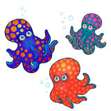 Octopuses set. Three cute baby octopuses. isolated on a white.  illustration Royalty Free Stock Photo
