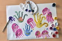 Octopusjonge geitjes het trekken Royalty-vrije Stock Afbeeldingen