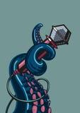 Octopusverstand een microfoon royalty-vrije illustratie