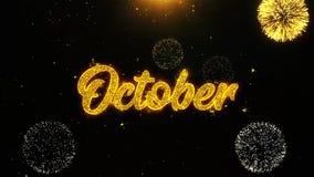 Octubre desea la tarjeta de felicitaciones, invitación, fuego artificial de la celebración colocado