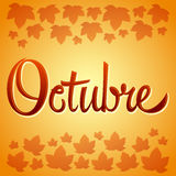 Octubre - October spanish vector sign Stock Photography