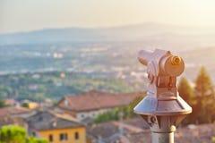 Oculare turistico del telescopio Paesaggio turistico della destinazione di viaggio Immagini Stock